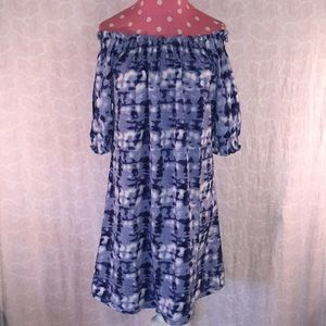 NWT Manhattan Blues Sz M tie dyed off shldr dress